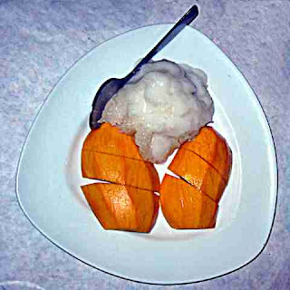 a plate of Mango Sticky Rice at Saladang, Pasadena CA (c) David Ocker