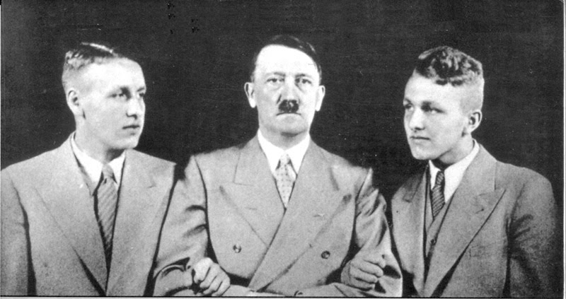 Wolfgang and Wieland Wagner, grandsons of Richard Wagner, with Adolf Hitler, the man they called Uncle Wolf