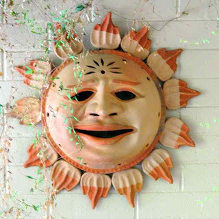 Sun sculpture wall hanging