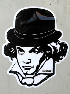 close up of Graffiti sticker of Ludwig van Beethoven in downtown Los Angeles