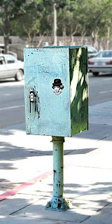 Graffiti sticker of Ludwig van Beethoven in downtown Los Angeles