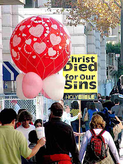 Rose Parade 2009 - Big Red Balloon & Christ Died for Your Sins (yeah, right)