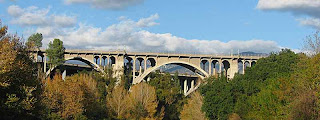 Colorado Street Bridge from distance Pasadena CA