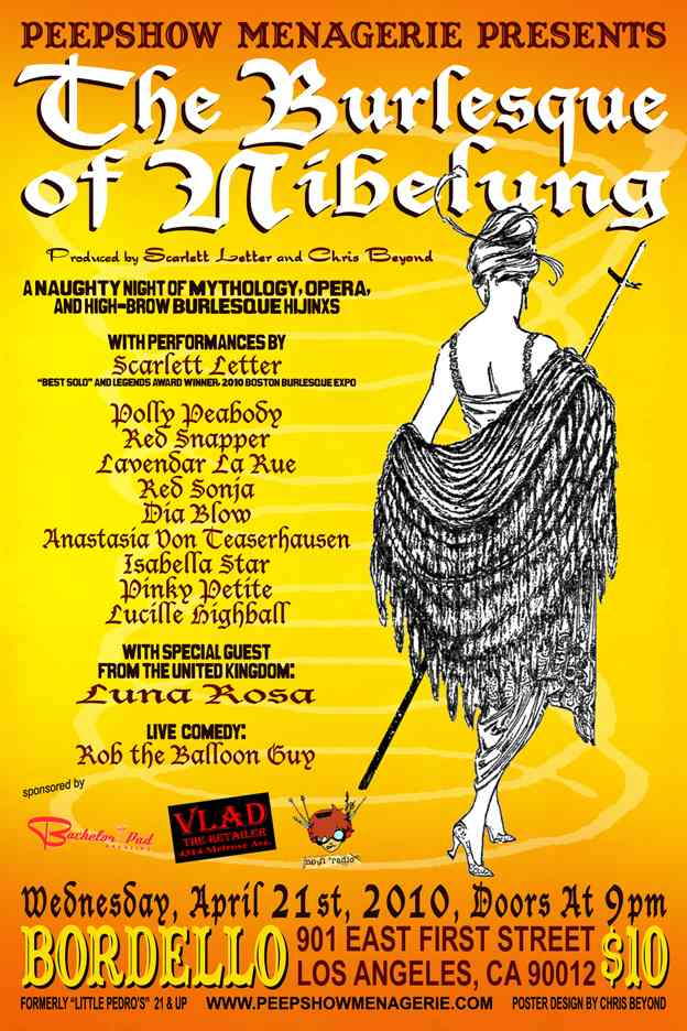 poster for Burlesque of Nibelung a night of mythology opera and high-class burlesque hi-jinks