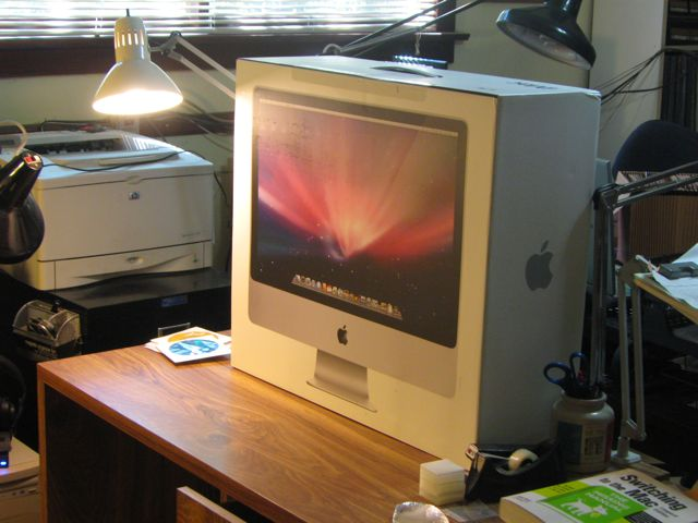 My iMac on my desk, still in the box