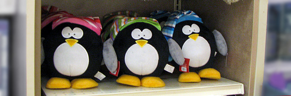 Christmas Penguin - are these the M&M characters dressed like penguins?