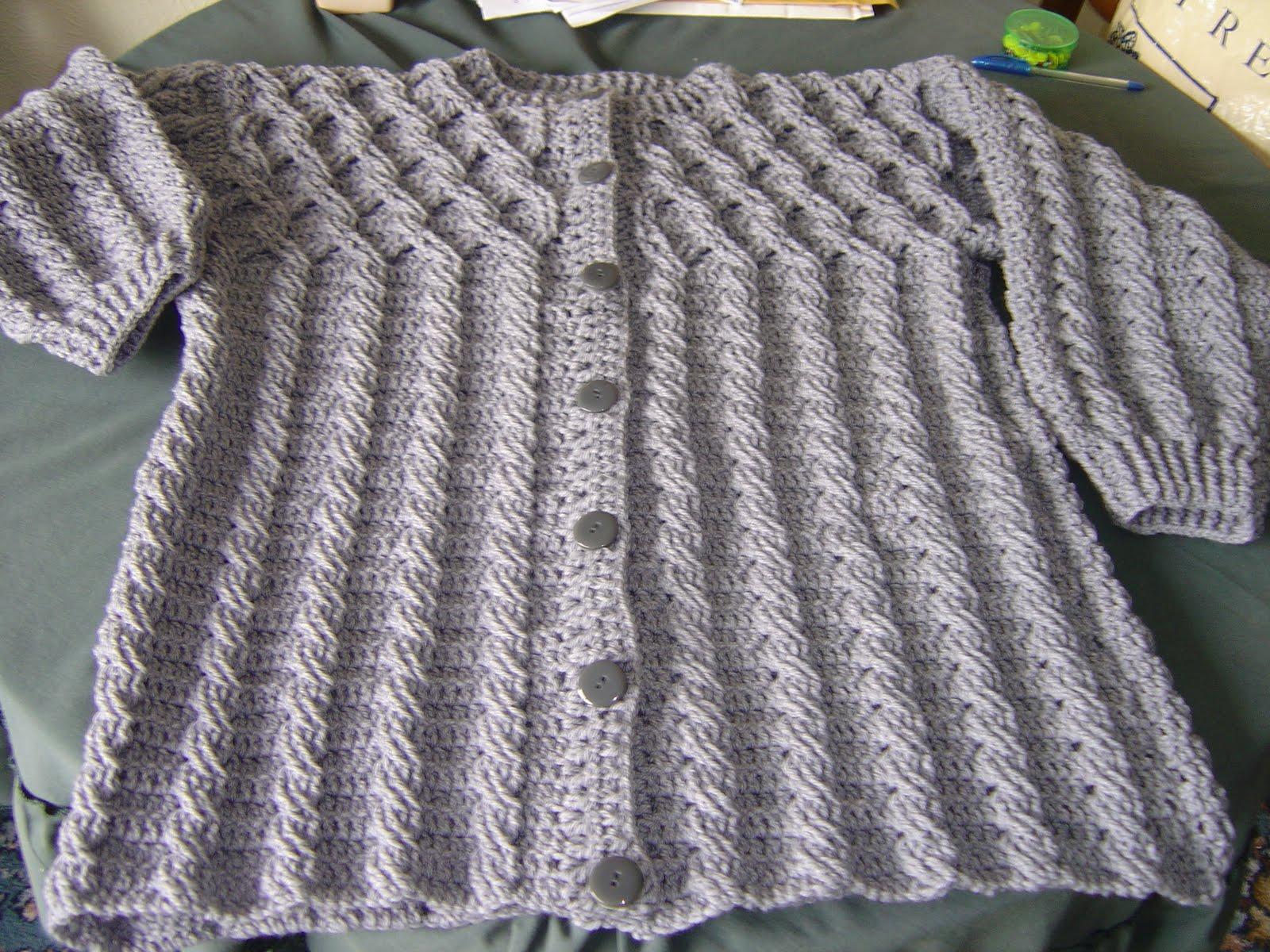 Free Crochet Aran Cardigan Pattern : Enthusiastic crochetoholic: Crocheted Aran Is Finished