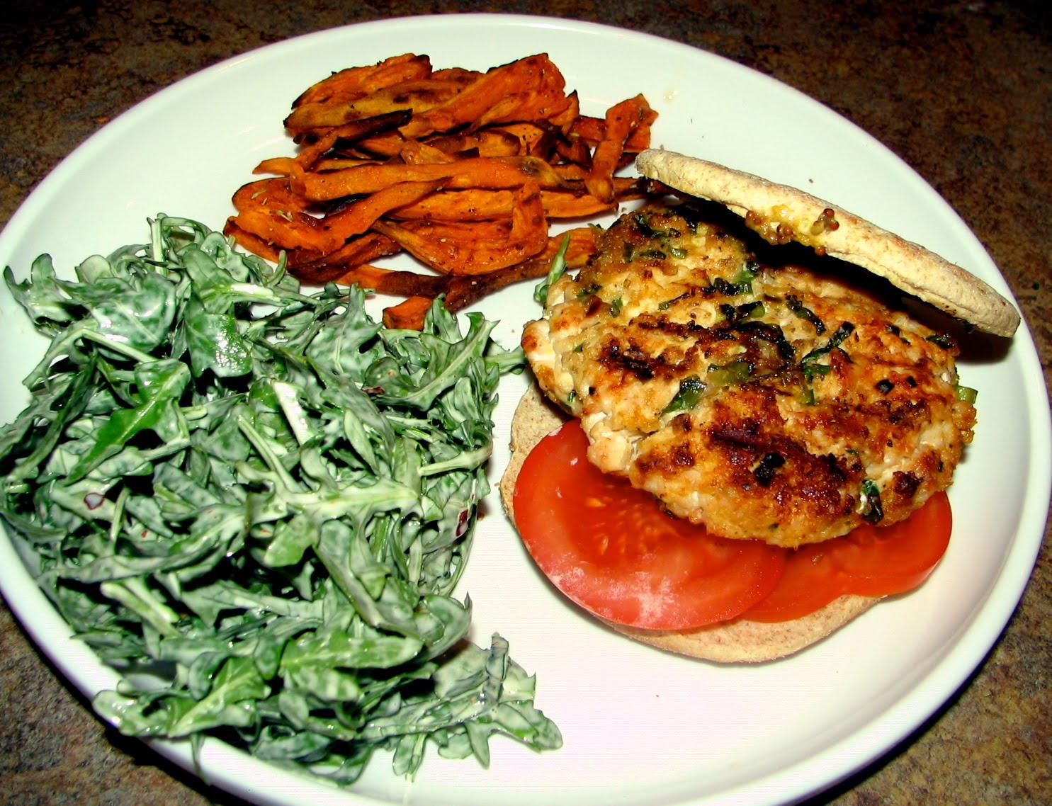 little fancy: turkey burgers, (sort of) spicy slaw, and baked sweet ...