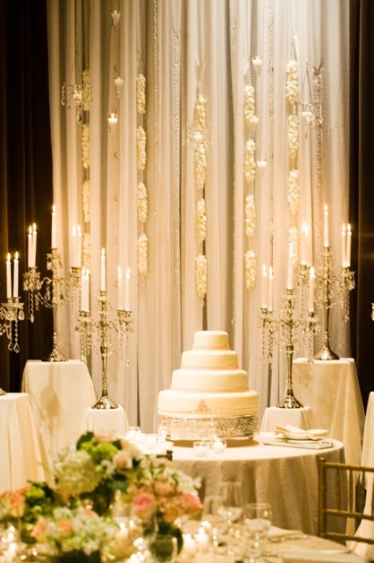 in gold embroidered overlays and two variations of table center pieces