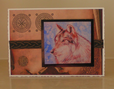 greetings card with wolf