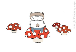 image bear and toadstool art print pocketcarnival