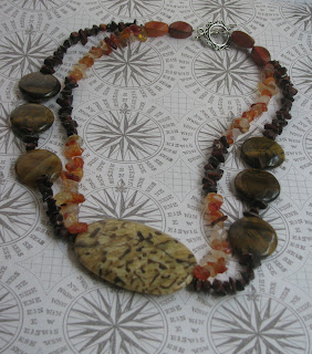 image double stranded necklace of garnet amber gemstone