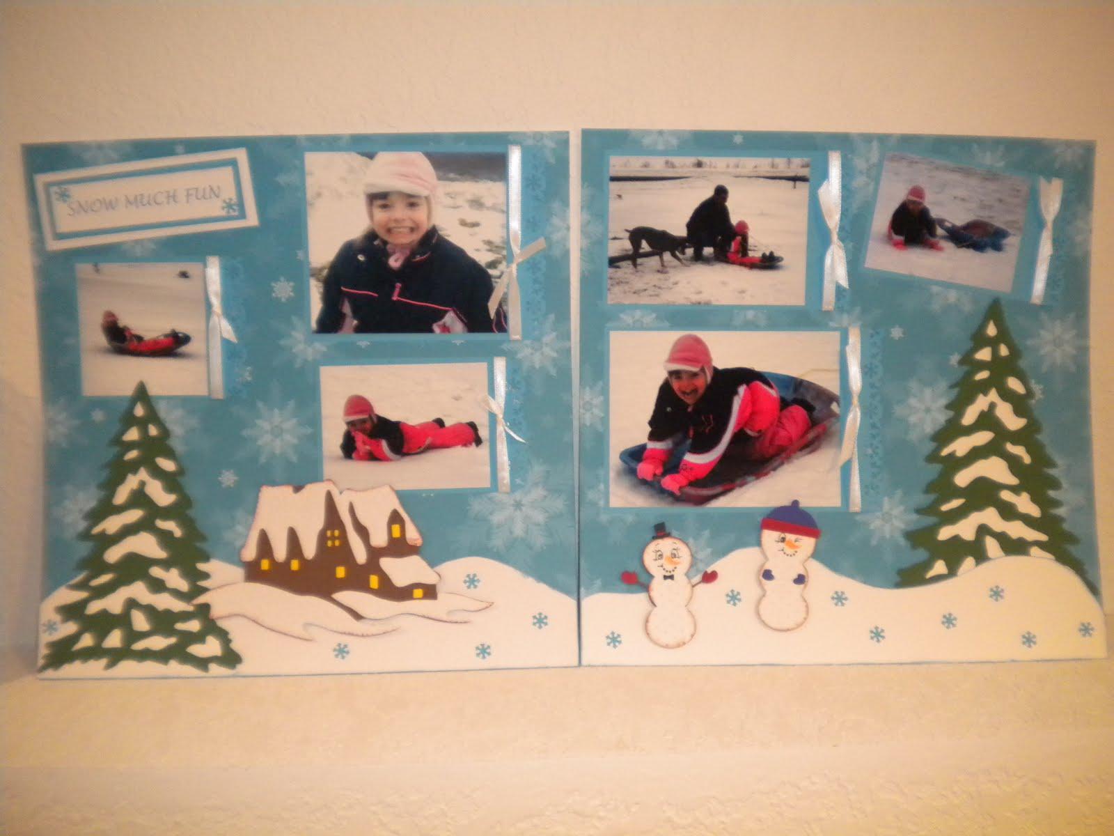 January scrapbook ideas - Winter Snow Much Fun Scrapbook Layout