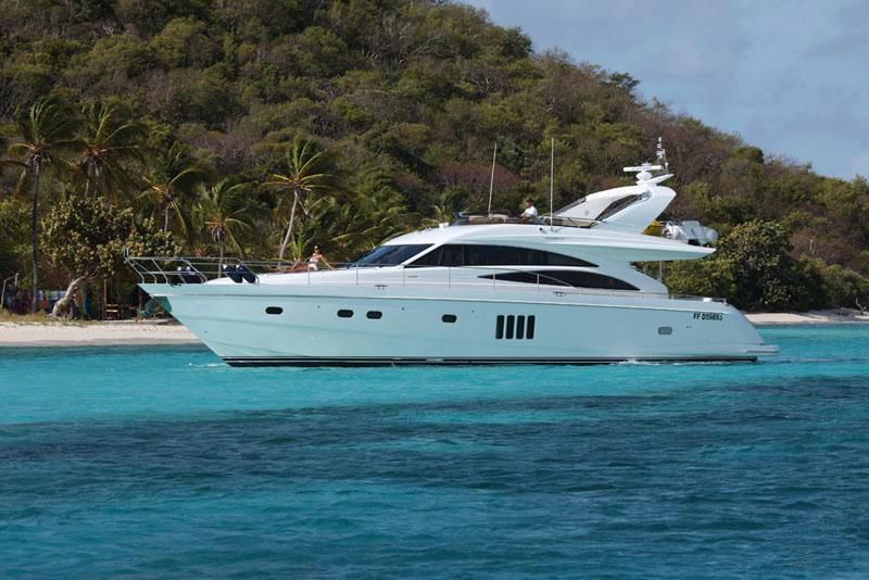 The charter yacht SORANA, a Princess Flybridge 67 motoryacht, ...