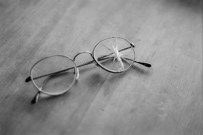 broken eyeglass