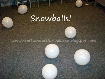 The white balloons were fake snowballs for the little ones to play