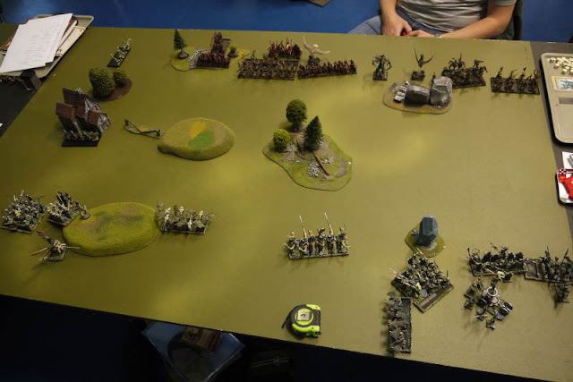 Dark Elves vs Wood Elves photograph of deployment