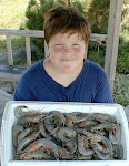 My Son With Shrimp From The Cast Net