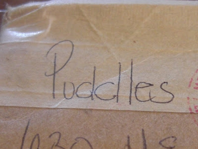 Picture of Puddle's name handwritten on the box - thank you so much for these gifts Puddles!!