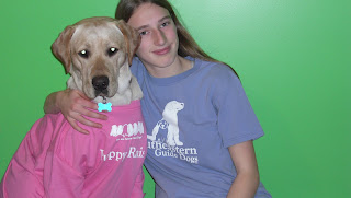 Picture of Toby & I BOTH wearing SEGDI shirts - his is pink & mine is purple