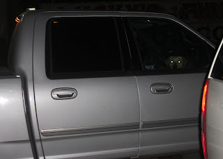 Picture of a gray truck in the dark.  You can see glowing eyes inside, and a dogs head. That's Toby