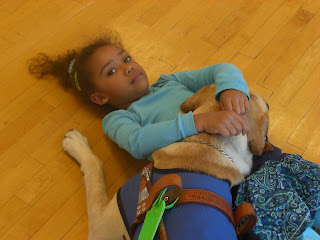 Photo of Toby resting his head on a young girl who was at Zumba