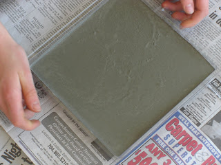 Picture of the concrete in the mold before anything was put in it