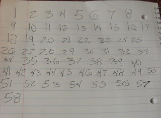 Picture of all the numbers on the piece of paper, not yet cut