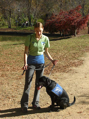 Rudy & I doing obedience, he's in a sit-stay