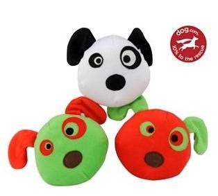 Picture of 3 dog toys; they are cute puppy faces in the color of red, green & white