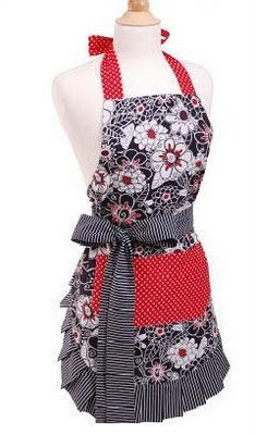 Black/white striped trim; with a flower pattern - has red colored pockets and a striped bow