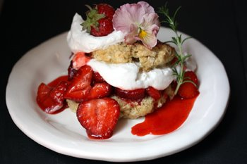 rosemary orange shortcake with strawberries in syrup and vegan whipped cream