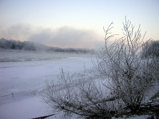 fog rising off of the icy Missouri River