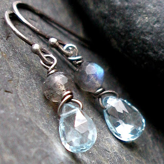 Bimini Earrings – handcrafted earrings with sterling silver, faceted Swiss Blue Topaz and Labradorite gemstones