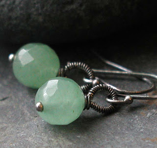 Hand crafted earrings featuring faceted green Aventurine and oxidized sterling silver for a rustic and casual look
