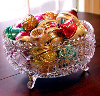 Vintage Christmas ornaments in an vintage cut glass bowl