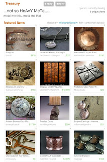 Handmade Luna necklace with hammered texture featured in Heavy Metal Treasury on Etsy.com