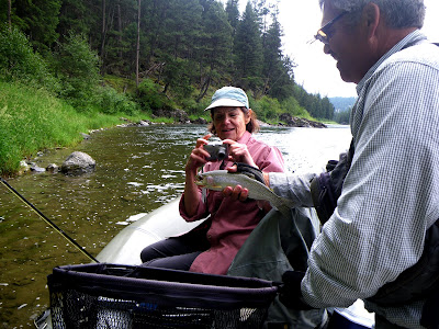 Carol on the Blackfoot River with Wapiti Waters