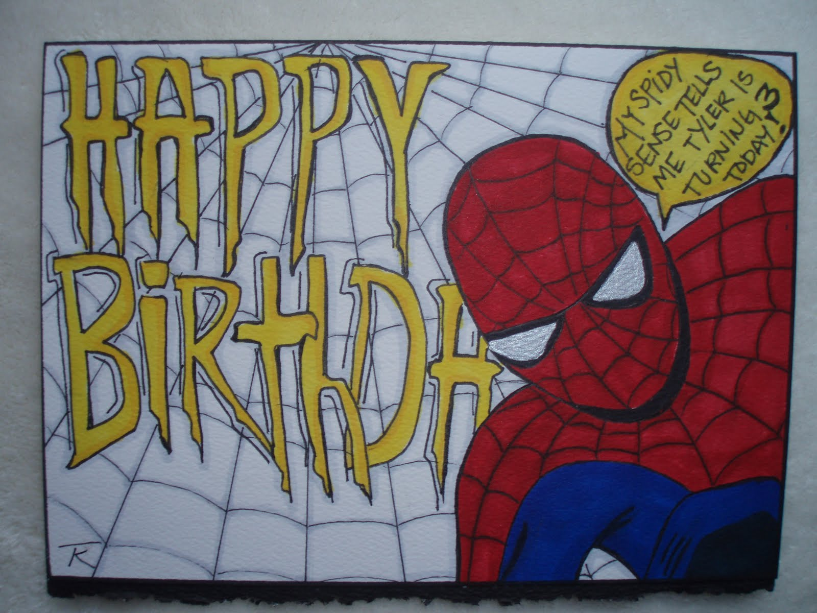 my favorite escape tyler's rd birthdayits all about spiderman, Birthday card