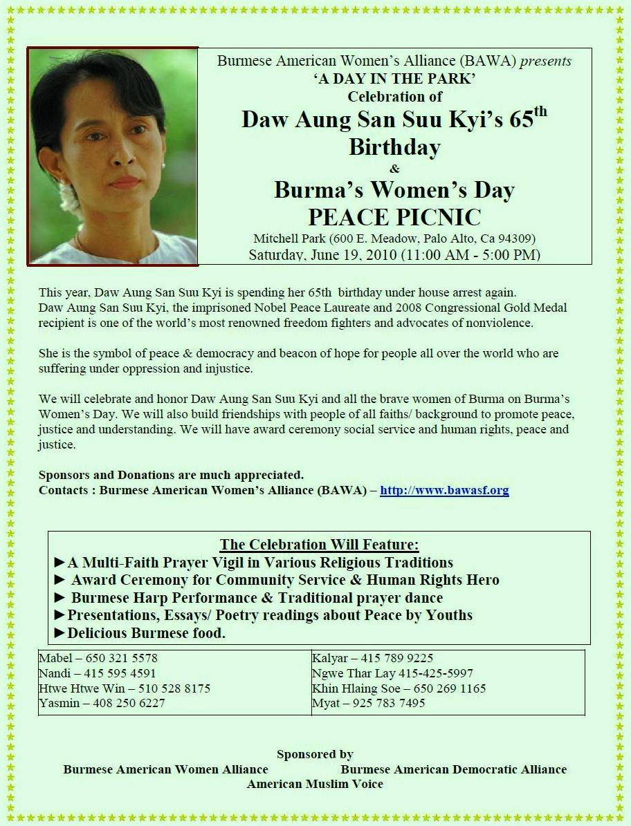 burmese community activities and events daw aung san suu kyi th daw aung san suu kyi 65th birthday peace picnic and essay competiton sf 19 2010