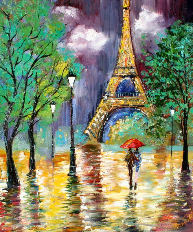 Karen tarlton red umbrella in paris rain for Painting red umbrella