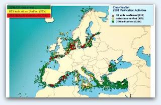 Dibujo del Sistema Clean SeaNet de EMSA que muestra la contaminación por vertidos en aguas de la UE