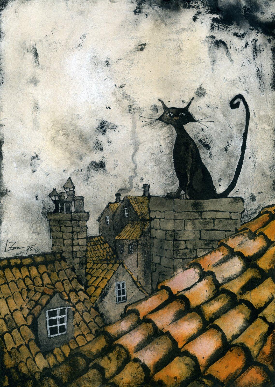 Oniris art leticia zamora gatos en los tejados - Dibujos de tejados ...