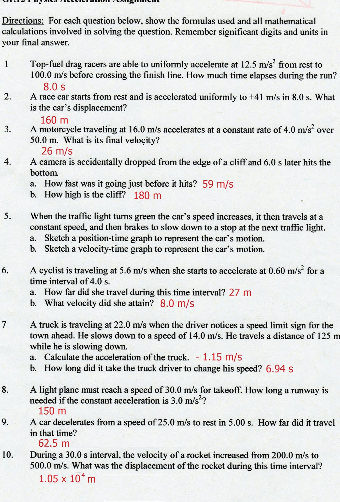 Worksheets Speed Velocity And Acceleration Worksheet Answers physics12fall2010 so im just reposting the worksheet with answers for those who might not have seen on amys previous post followed by question 5