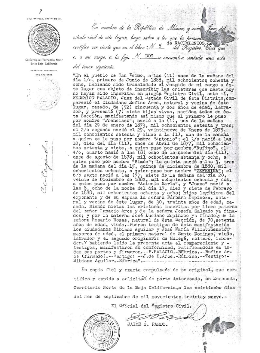 Excelente Acta De Nacimiento Línea De California Patrón ...