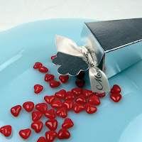 red color valentine heart candies