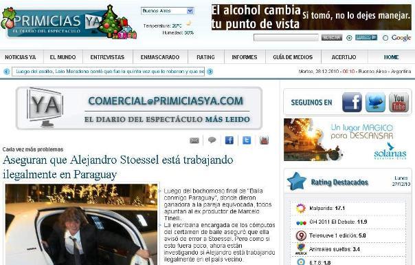 Tv 12 29 10 for Primicia ya espectaculos
