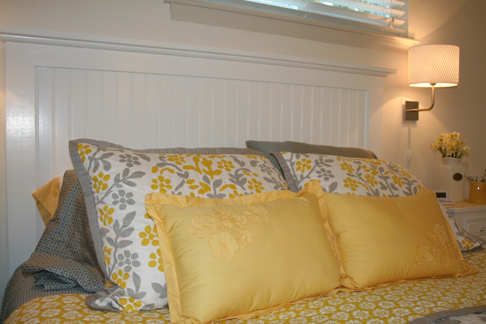 our nest of  the beadboard headboard my husband made, Headboard designs