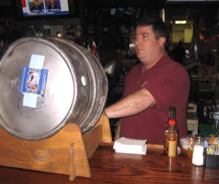 Randy taps the firkin
