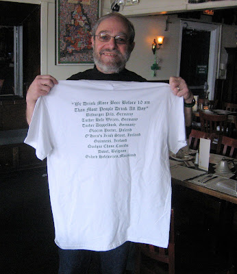 Brews Brother Steve Frank models the commemorative tee-shirt